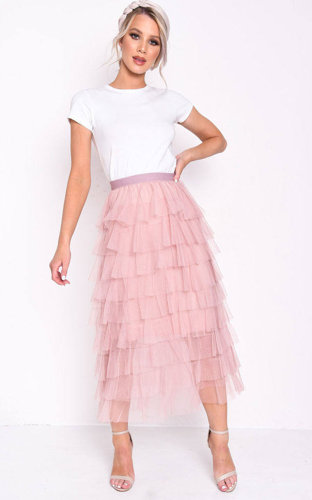 e52407bb62e1b1 High Waisted Layered Tulle Ruffle Skirt Pink | LILY LULU FASHION ...