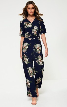 Floral Print Jumpsuit in Navy by Marc Angelo