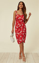 Mahina Holiday Palm Print Sarong Wrap Red Dress by Collectif Clothing