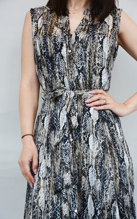 Sleeveless Midi Dress with Button Front in Snake Print by Stefanie London