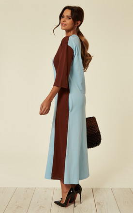 Asymmetric Panel Jersey Maxi Dress in Blue and Brown by Till We Cover