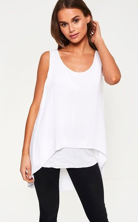 Sleeveless Top with Sequin Hem in White by Marc Angelo