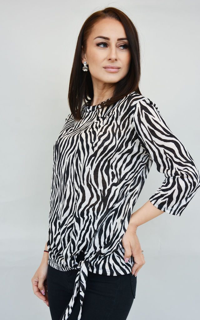 Petite 3/4 Sleeve Top with Tie Hem in Zebra Print by Stefanie London