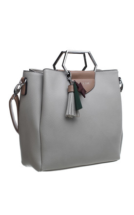 SILVER HEXAGON METAL HANDLE BOXY TOTE WITH A TASSEL DECORATION GREY by BESSIE LONDON