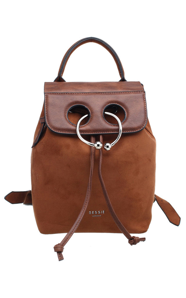 FLAP TOP SUEDE BACKPACK WITH DRAWSTRING TAN by BESSIE LONDON