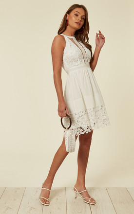 White High Neck Midi Dress In Cutwork Broderie And Elasticated Waist by Off The Railz