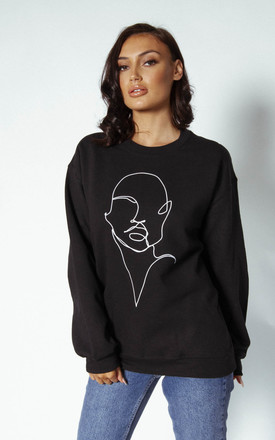 'Profile' Sweatshirt in Black by Awfully Pretty