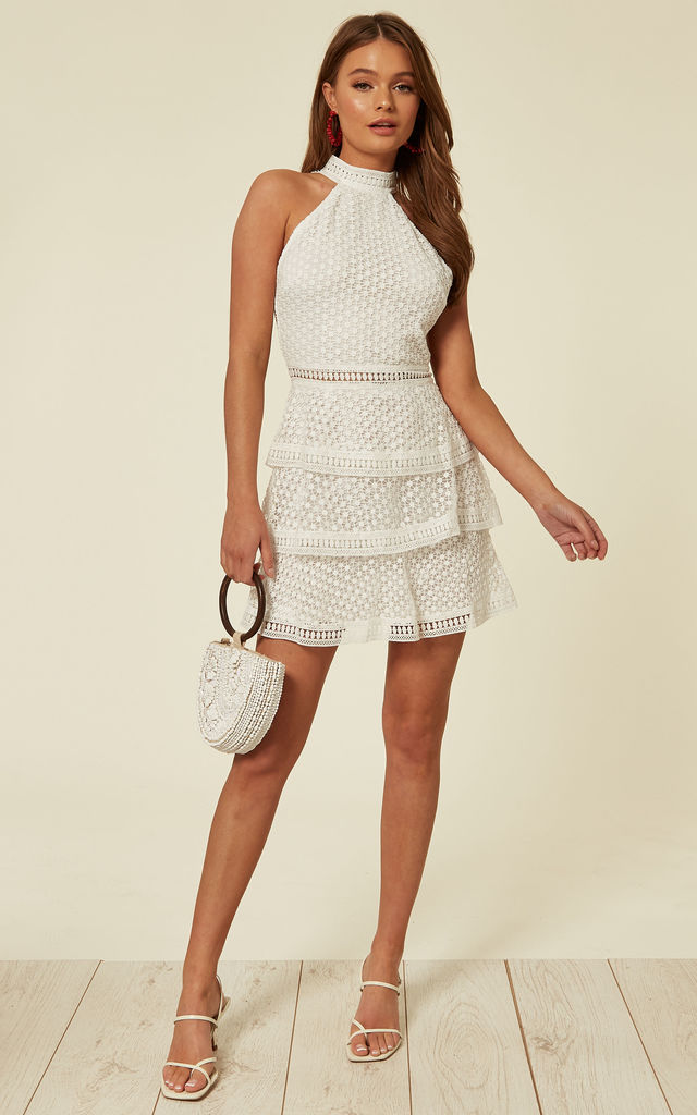 d0fcd6da1255 White High Neck Mini Cut Out Crochet Layered Dress With Revealing Back by  Off The Railz