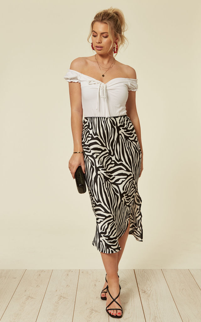 TASHA - Black & White Side Split Midi Skirt by Blue Vanilla