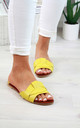 Yellow Flat Slip On Sandals by Larena Fashion