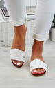 White Flat Slip On Sandals by Larena Fashion