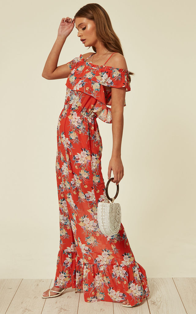 Red Floral Chiffon Cold Shoulder Maxi Dress by Pretty Darling