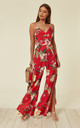 SPLIT LEG JUMPSUIT in RED FLORAL PRINT by Oeuvre