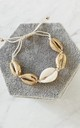 White & Gold Cowry Shells Bracelet by Gold Lunar