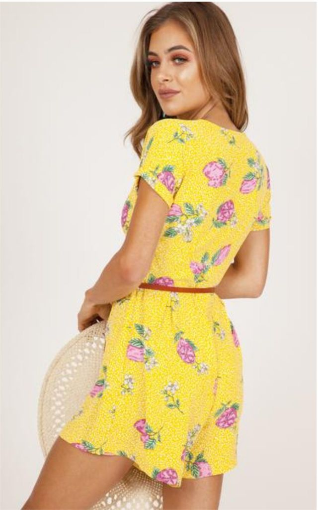 Yellow Button Up Floral Playsuit by Hachu