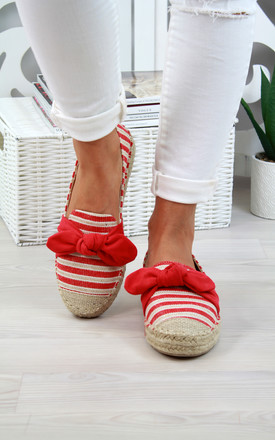 Red Bow Slip On Espadrilles by Larena Fashion