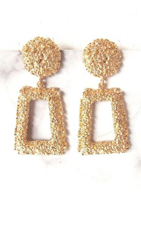 Chunky Gold Textured Style Statement Earrings by Olivia Divine Jewellery Product photo