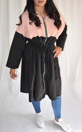 LONGLINE LIGHTWEIGHT RAINCOAT with BLACK AND PINK PANELS by Love Modest Fashion