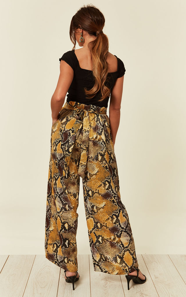 Silky Wide Leg Trousers in Yellow Snake Print by CY Boutique