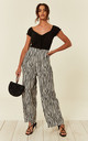 Wide Leg Trousers in Black and White Zebra Print by CY Boutique