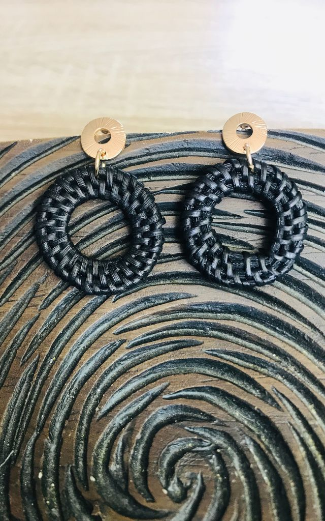 Black Straw Circle Earrings by Pink Lemonade Boutique