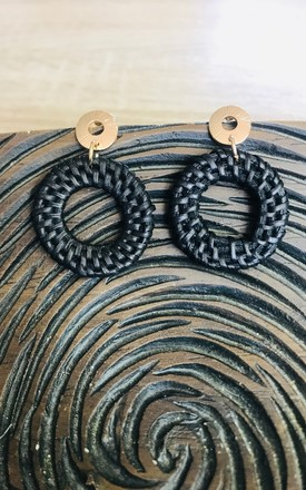 Black Straw Circle Earrings by Pink Lemonade Boutique Product photo
