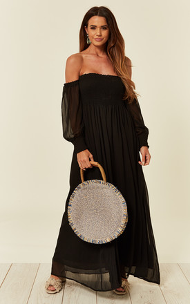 Off Shoulder Chiffon Maxi Dress With Long Sleeves In Black by CY Boutique Product photo
