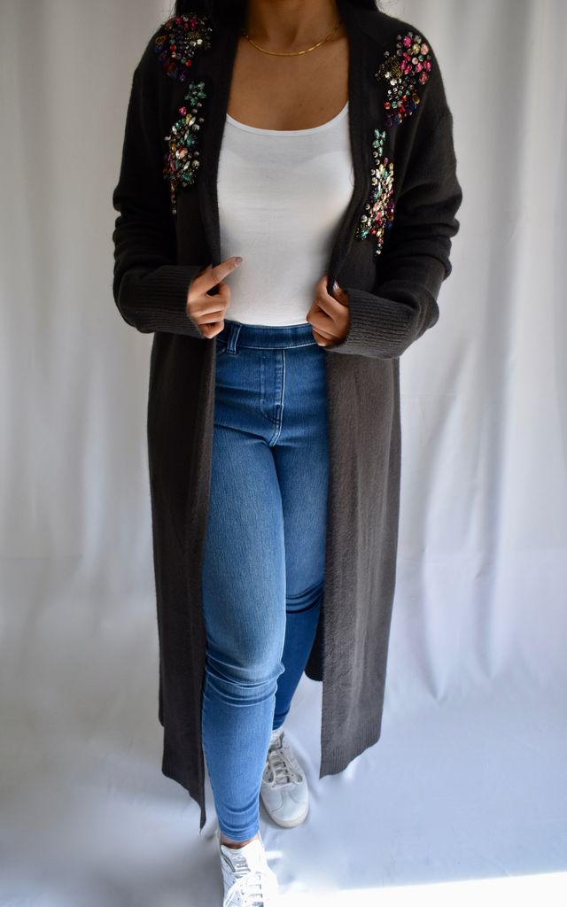 PLUS SIZE LONGLINE CARDIGAN with RHINESTONES in GREY by Love Modest Fashion