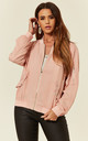 Casual Chiffon Bomber Jacket in Pink by CY Boutique
