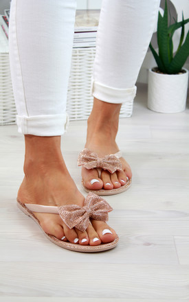 Nude Bow Diamante Flip Flops by Larena Fashion