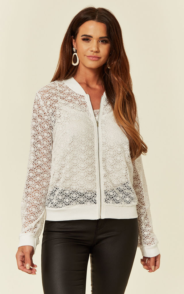 Light Bomber Jacket in White Floral Lace Crochet by CY Boutique