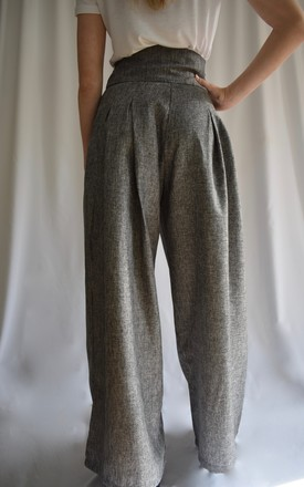 PALAZZO PANTS WITH TIE BELT in GREY by Love Modest Fashion