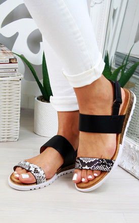 Snake Print Double Strap Sandals by Larena Fashion