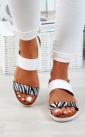 Zebra Print Double Strap Sandals by Larena Fashion