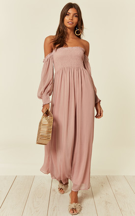 Off Shoulder Chiffon Maxi Dress With Long Sleeves In Pink by CY Boutique Product photo
