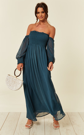 Off Shoulder Chiffon Maxi Dress With Long Sleeves In Blue by CY Boutique Product photo
