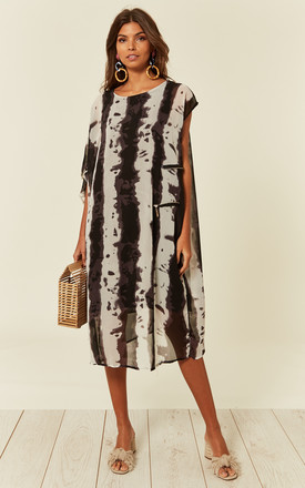 Oversized Tunic Dress In Black And Cream Contrast Print by CY Boutique Product photo