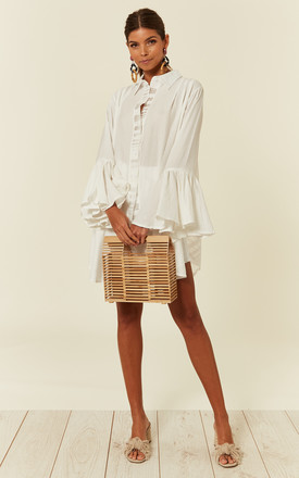 White Oversized Shirt Dress With Frill Sleeves & Mesh Check Detail by CY Boutique Product photo