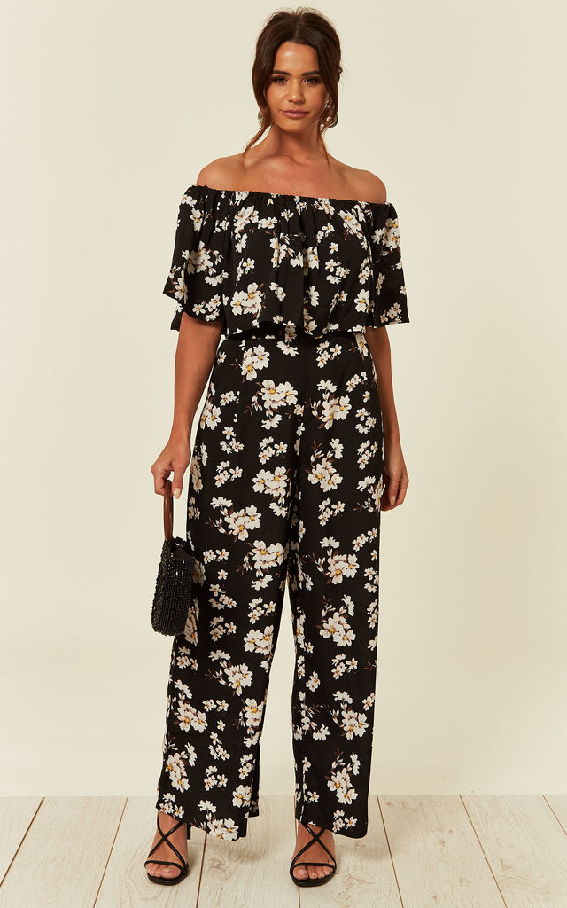 40bbef92cab79b Off Shoulder Top And Trousers Co Ord Set In Black Floral ... | CY ...