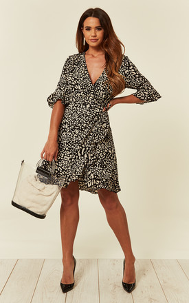 Wrap Playsuit with Frill Sleeves and Hem in Black and White Leopard Print by CY Boutique