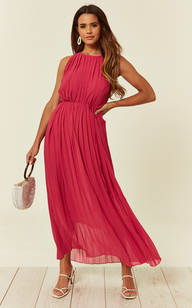 Sleeveless Pleated Full Length Maxi Dress In Pink by CY Boutique Product photo