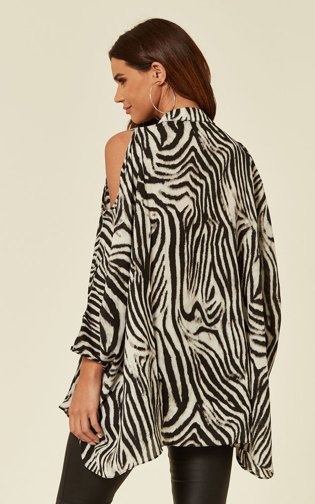 Oversized Cold Shoulder Shirt in Black and White Zebra Print by CY Boutique