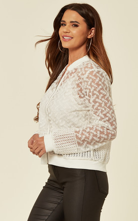 Light Embroidered Bomber Jacket in White Floral Organza by CY Boutique