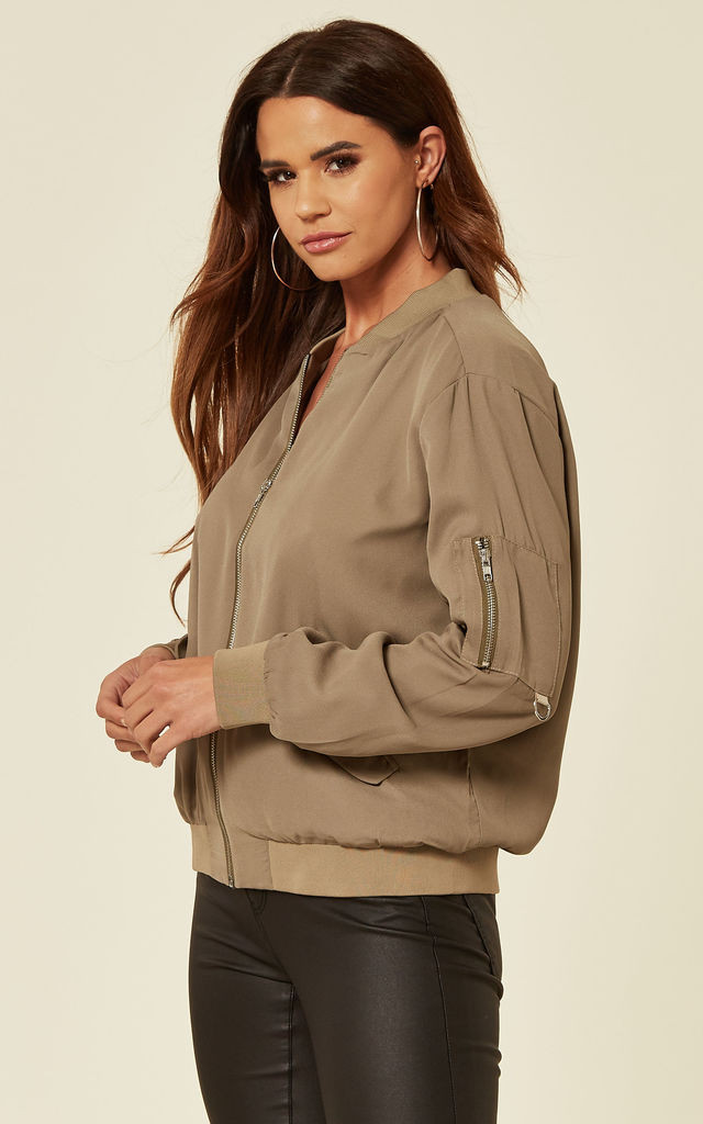 Casual Chiffon Bomber Jacket in Khaki by CY Boutique