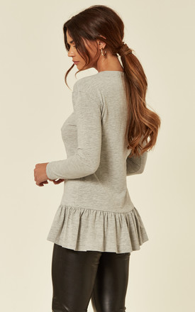 Long Sleeve Top With Ruffle Detail in Grey by The ModestMe Collection