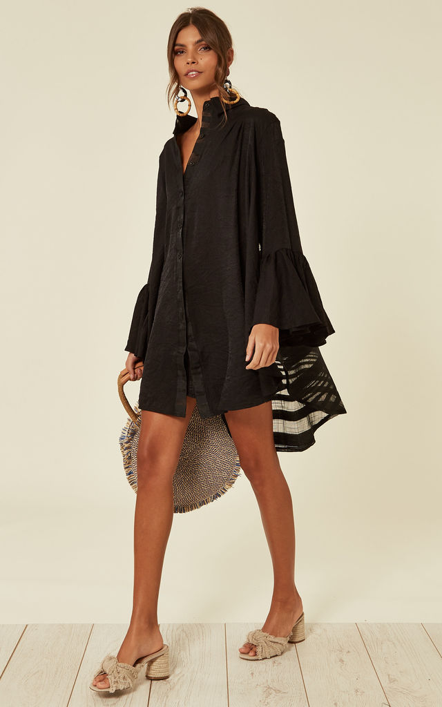 Oversized Shirt dress with Frill Sleeves and Mesh Checked Back Design in Black by CY Boutique
