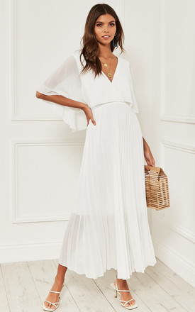 Maxi Pleated Wrap Dress With Open Back In White Chiffon by Bella and Blue Product photo