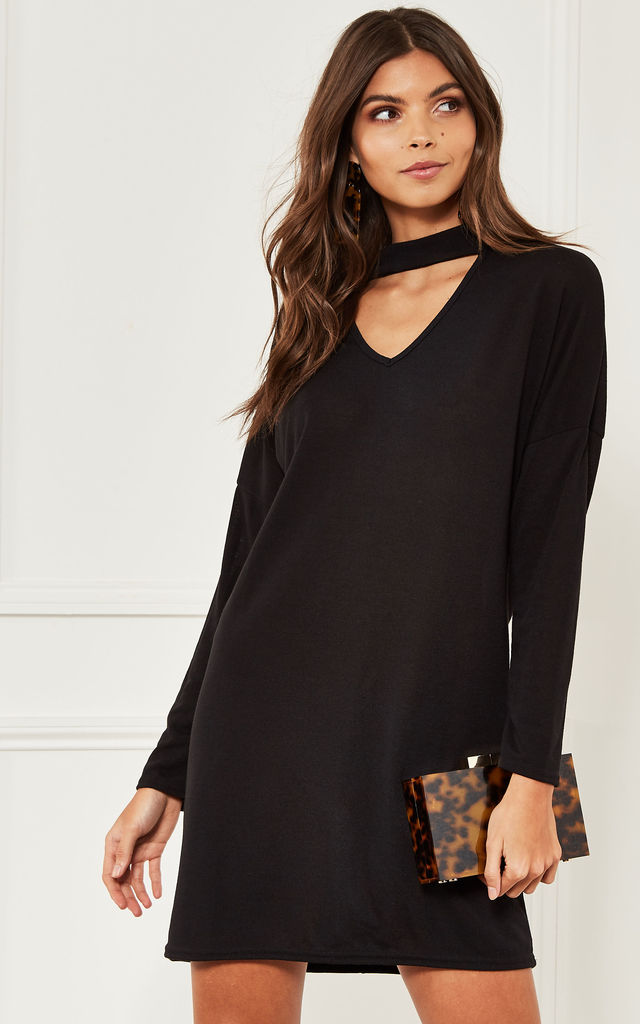 Black Choker Neck Knitted Dress by Bella and Blue