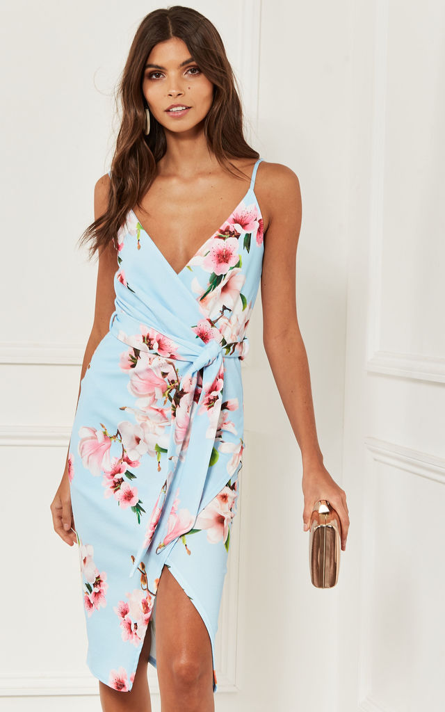 d6b62acdcd287 Strappy Wrap Midi Dress with tie waist in light blue floral by Lilah Rose