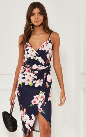 Strappy Wrap Midi Dress With Tie Waist In Navy Floral by Bella and Blue Product photo